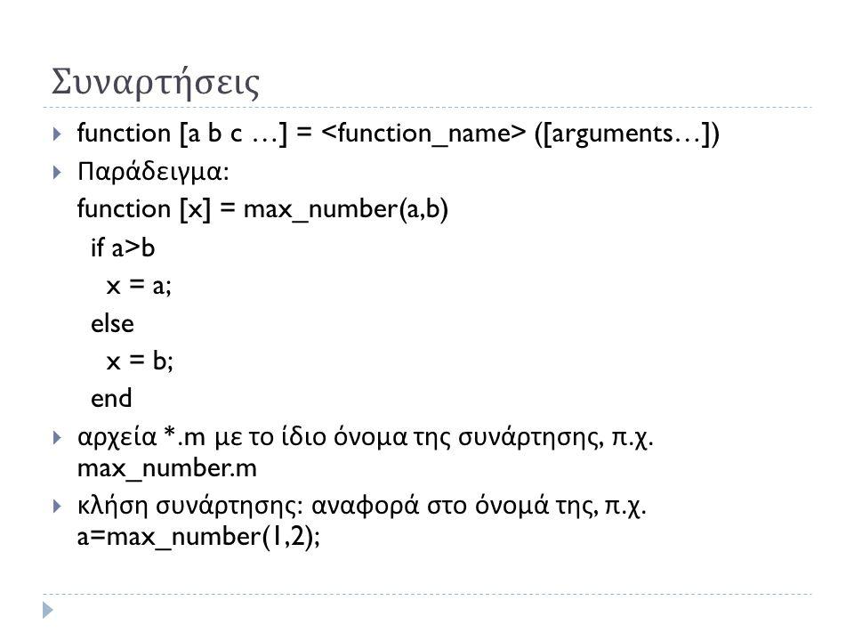 Συναρτήσεις function [a b c …] = <function_name> ([arguments…])